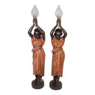 Antique Art Nouveau Polychromed Metal Nubian Maiden Torcheres - A Pair For Sale