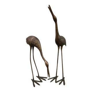 Mid-Century Iron Herons or Cranes - A Pair