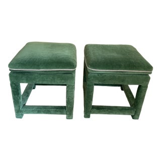 John Mascheroni for Swaim Emerald Green Velvet Parsons Stools - a Pair For Sale