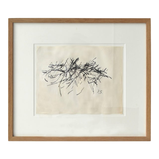 Framed Vintage Abstract Drawing by Jacques Germain For Sale