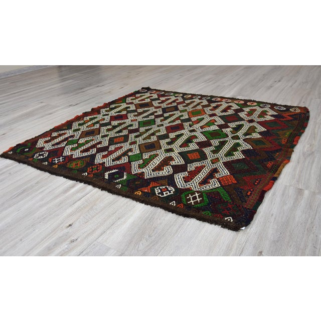 Southwestern Wool Kilim - 3′11″ × 4′3″ For Sale - Image 4 of 8
