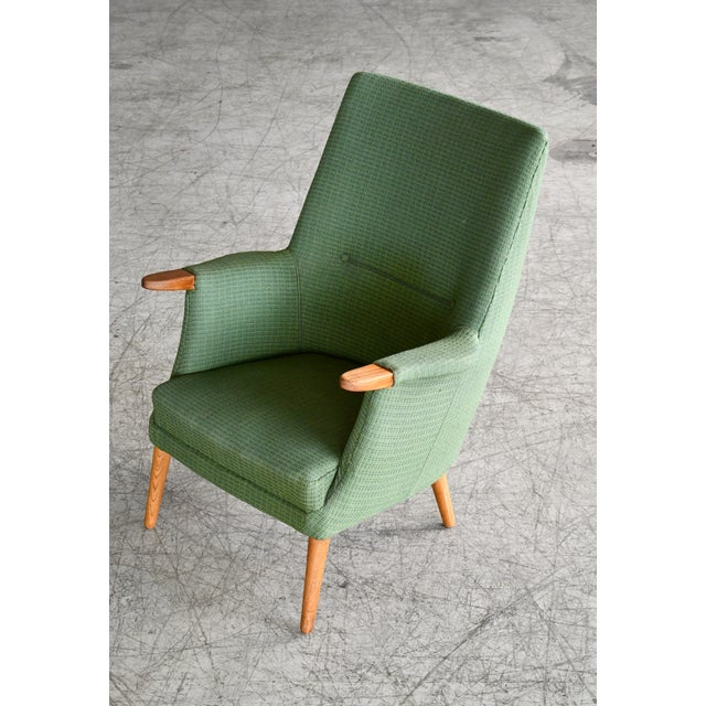 Green Danish 1960s Hans Wegner Mama Bear Style Lounge Chairs by Poul Jessen - a Pair For Sale - Image 8 of 13