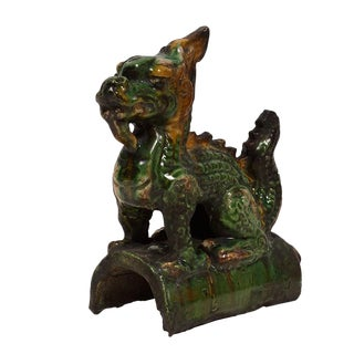 Early 20th Century Antique Chinese Glazed Ceramic Dragon Roof Tile For Sale
