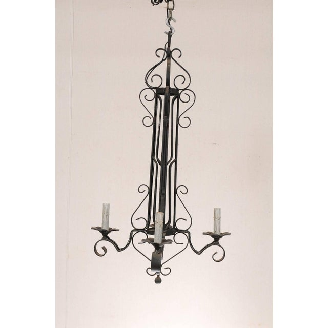 Tall French Four Light Black Iron C-Scrolled and S-Scrolled Chandelier For Sale - Image 4 of 9