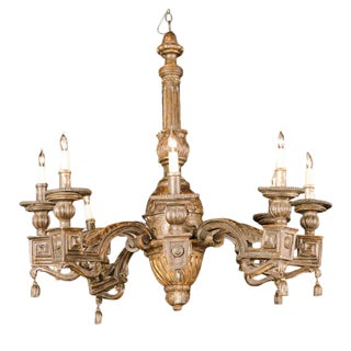 Fine Italian Neoclassic Giltwood Eight-Arm Chandelier, Late 18th Century For Sale