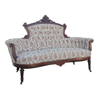 Early 1880s Eastlake Victorian Walnut Hand Carved Sofa Couch For Sale