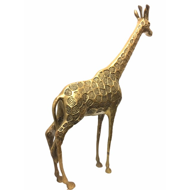 African Vintage Mid-Century Brass Giraffe For Sale - Image 3 of 8