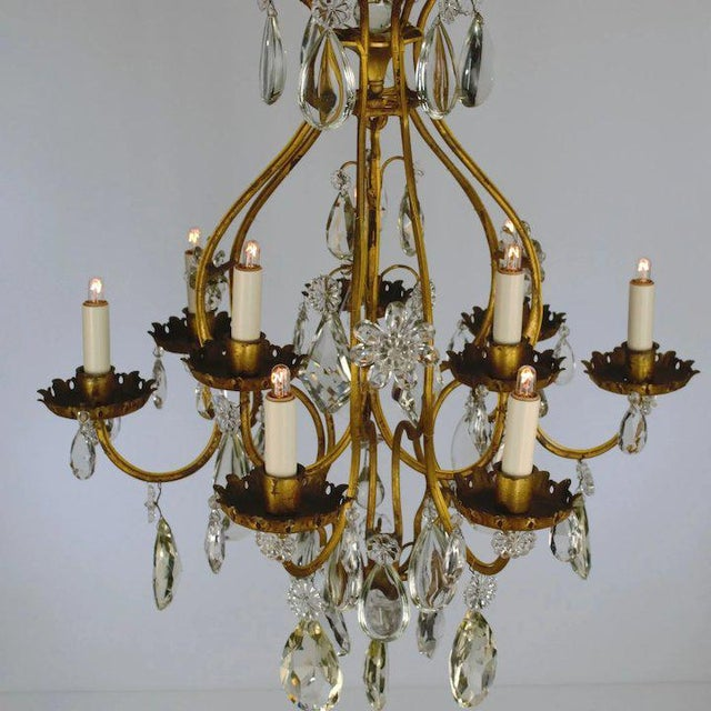 Metal Continental Iron & Crystal Chandelier For Sale - Image 7 of 11