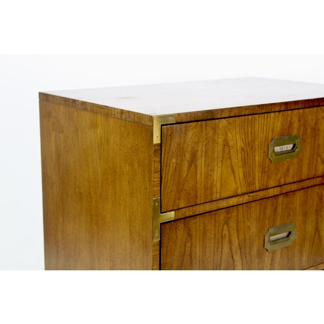 Campaign Style 3-Drawers Walnut Commode For Sale - Image 4 of 5