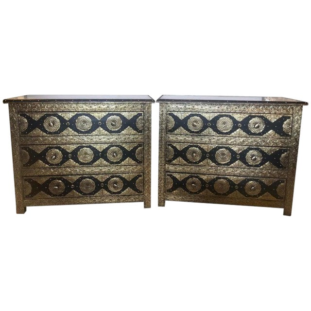 Pair Brass & Ebony Hollywood Regency Style Moroccan Commodes, Chests Nightstands For Sale