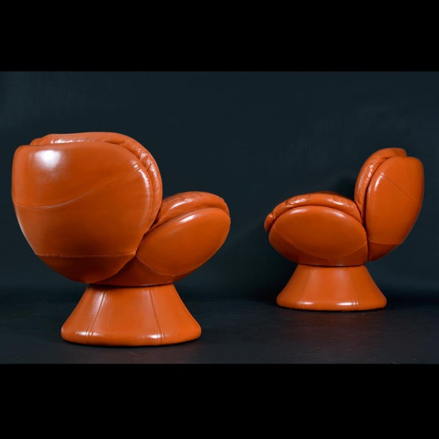 1990s Nineteen-Laties Pedestal Base Orange Leather Swivel Pod Chairs by Jaymar For Sale - Image 5 of 13