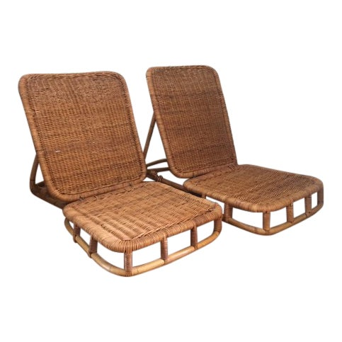 1950s Vintage Folding Wicker & Rattan Chairs- a Pair