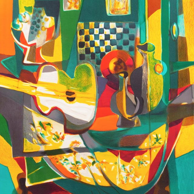 'Still Life With Guitar' by Marcel Mouly Expressionist Stone Lithograph For Sale - Image 4 of 9