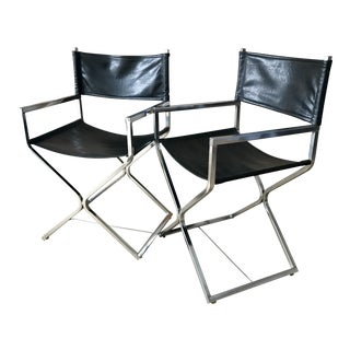 Mid Century Black Chrome Director's Chairs - a Pair