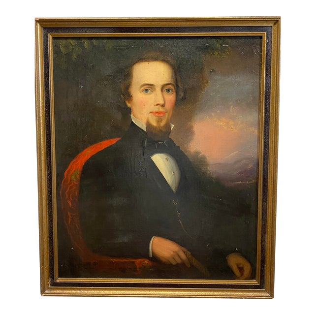 Antique Late 19th C. Oil on Board Framed Portrait of a Handsome Man For Sale
