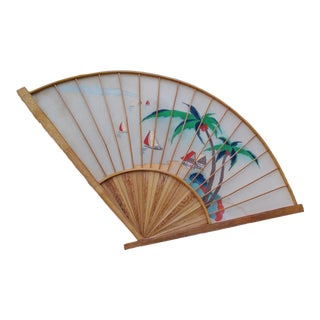 Japanese Hand-Painted Bamboo Fan For Sale