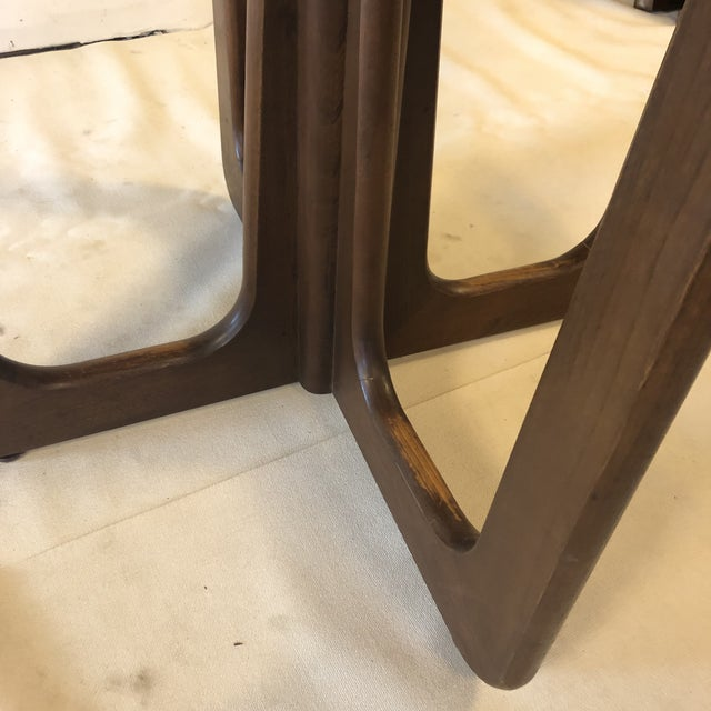 1960s Danish Modern Walnut Base Dining Table With 2 Leaves For Sale - Image 9 of 13
