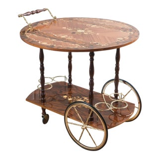 Vintage Italian Drop Leaf Marquetry Bar Cart