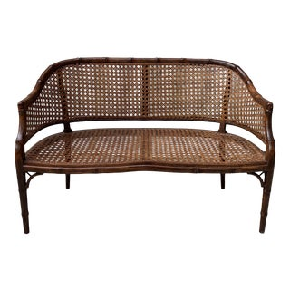 Mid 20th Century Hollywood Regency Chippendale Style Faux Bamboo and Cane Settee For Sale