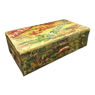 Painted Metal Trunk Box For Sale