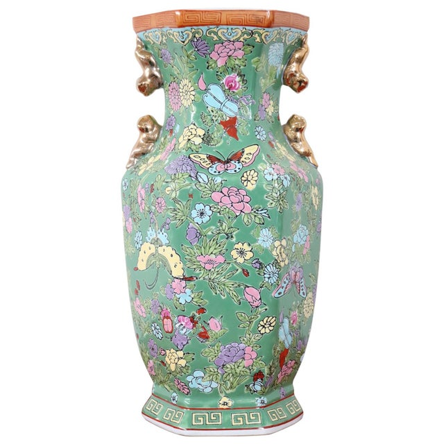 20th Century Chinese Vintage Artistic Vase in Ceramic Green and Floral Motifs For Sale - Image 11 of 11
