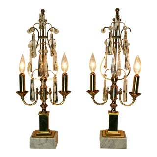 Mid-Century Brass and Crystal Girandoles - A Pair For Sale