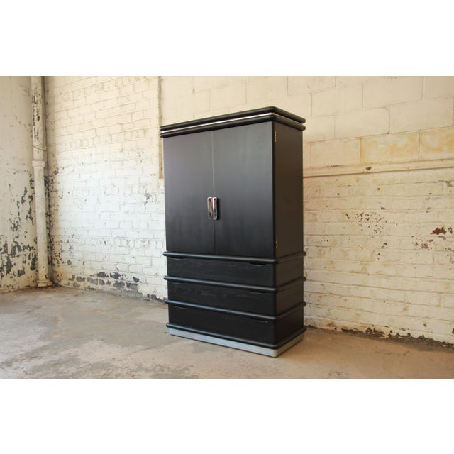 Jay Spectre for Century Cerused Oak & Chrome Armoire - Image 2 of 11