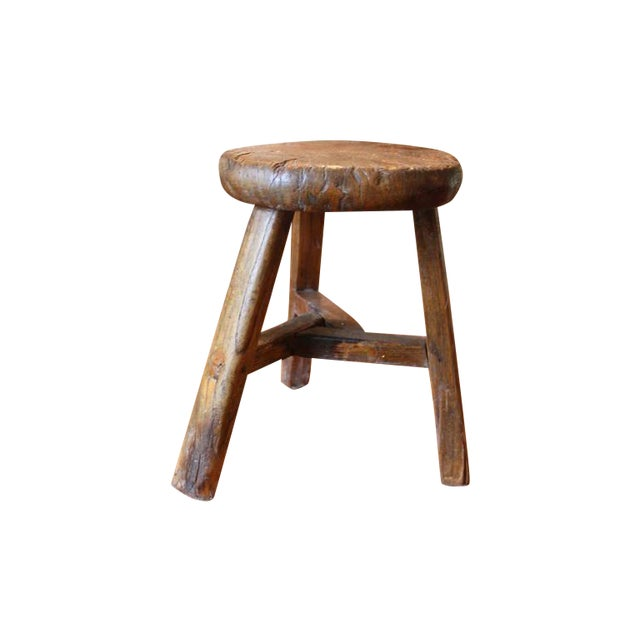 Rustic French Round Stool - Image 1 of 6