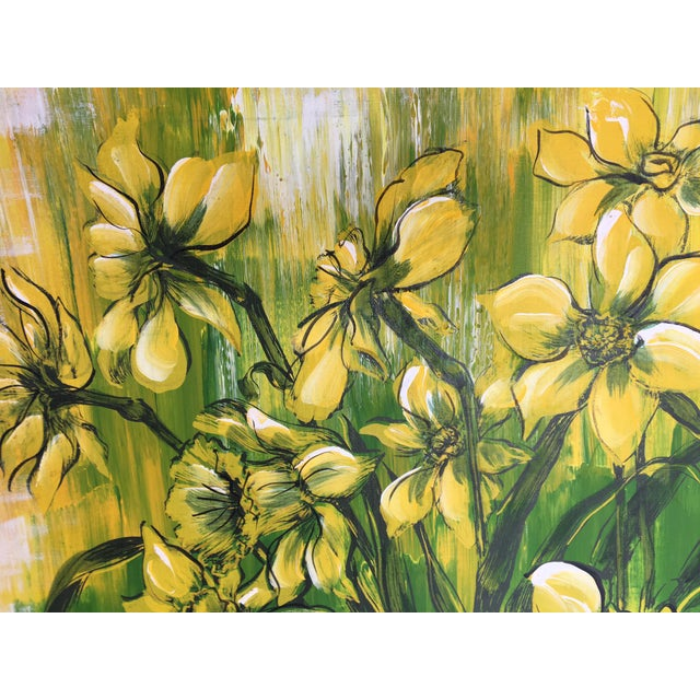 Hollywood Regency Large Mid-Century Hollywood Regency Floral Painting by C. Petterson For Sale - Image 3 of 4