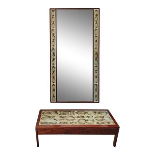 Poul Jensen and L. Hjorth Low Table and Tiled Mirror - 2 Pieces For Sale