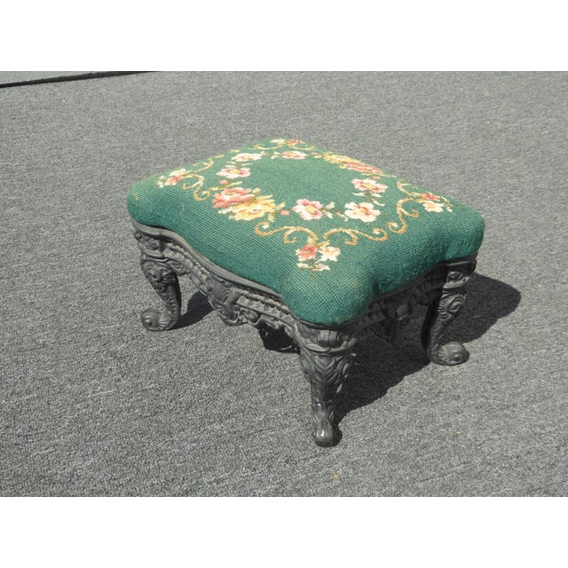 Blue Vintage French Provincial Green Needlepoint Footstool W Ornate Cast Iron Base For Sale - Image 8 of 12