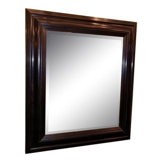 19th Century American Ebony Mirror With Beveled Glass For Sale