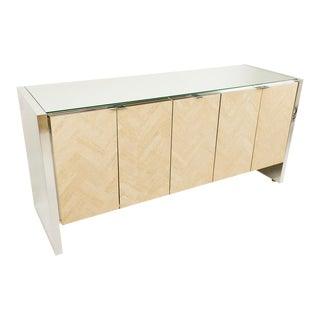 Ello Herringbone Travertine Chrome & Glass Sideboard