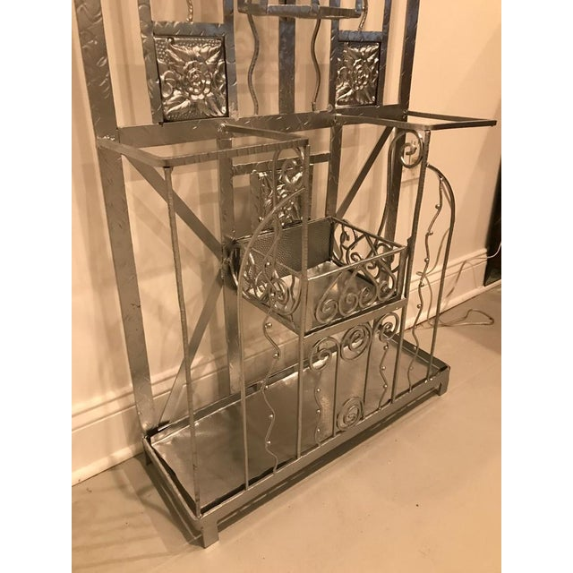 Glass French Art Deco Hall Tree Coat Rack With Sabino Glass Light Sconce For Sale - Image 7 of 13