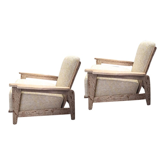 Style of Prouve Cerused Oak Lounge Chairs With Reclining Back For Sale