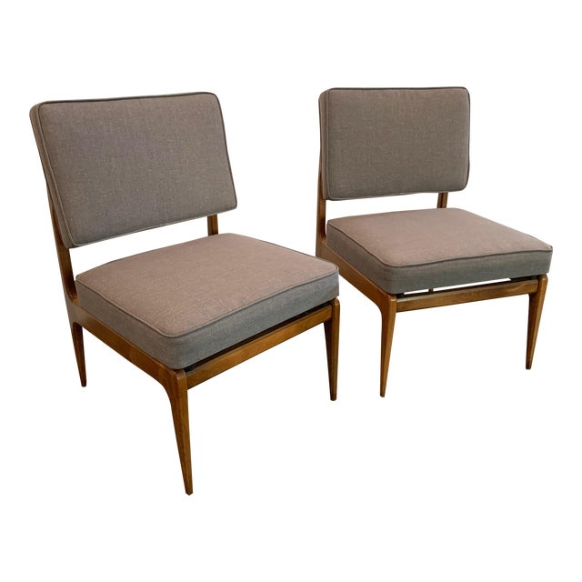 Pair of Mid-Century Gray Linen Chairs For Sale