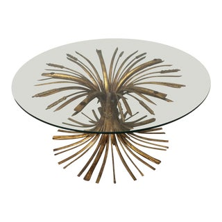 Gold Leaf Sheaf of Wheat Cocktail Table For Sale