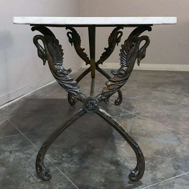 19th Century Wrought Iron Marble Top Confectioner's Table For Sale - Image 11 of 12