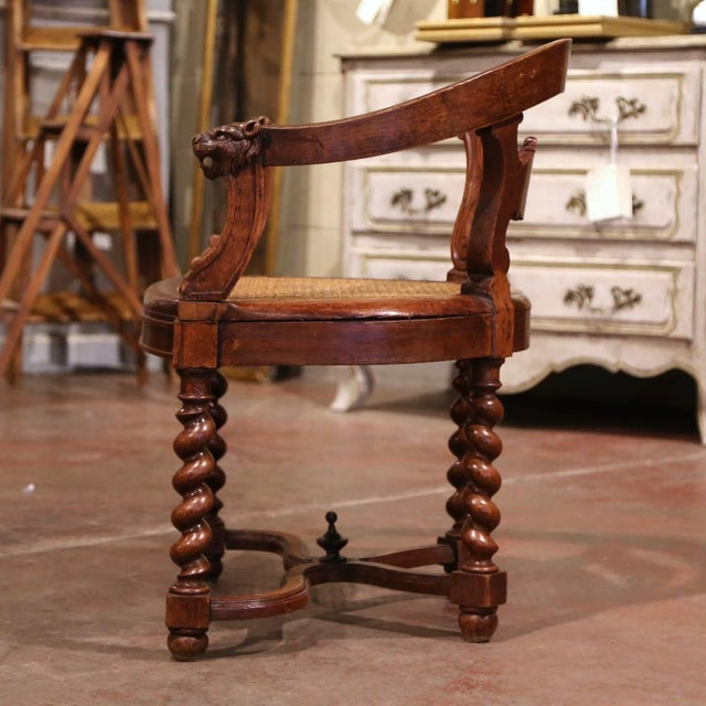 19th Century French Louis XIII Carved Oak Barley Twist and Caning Desk Armchair For Sale - Image 4 of 12