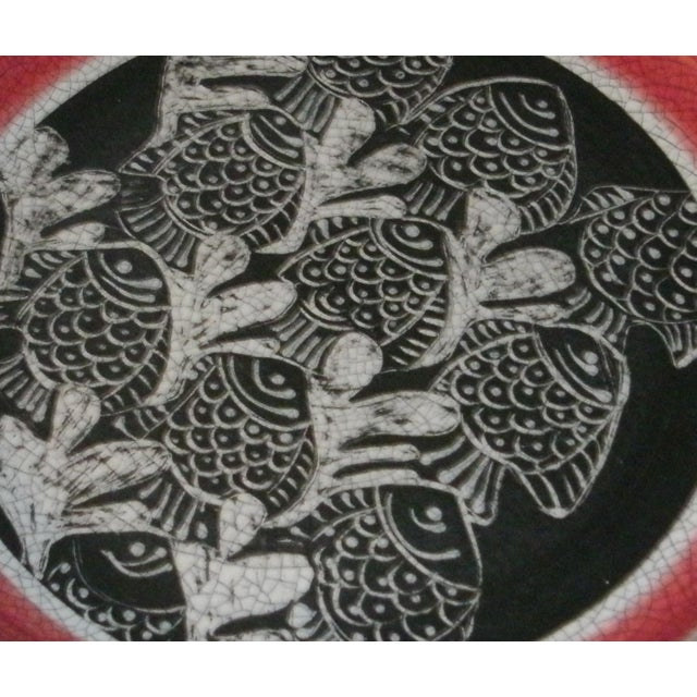 Ebony Large Deep Crackle Ceramic Swimming Fish Platter Hand Signed & Numbered For Sale - Image 8 of 11