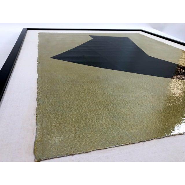Original Framed Betty Gold Artwork Black Geometric Form Against Metallic Paper Signed For Sale - Image 10 of 12