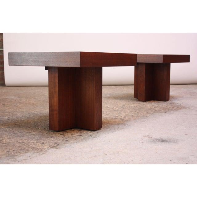 Milo Baughman Pair of Milo Baughman 'Cruciform' End Tables For Sale - Image 4 of 13