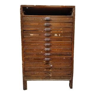 Vintage Industrial Primitive Flat File Letterpress Cabinet For Sale
