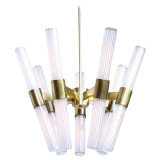 Dixie 14-Light Chandelier in Burnished Brass Finish and Fluted Glass For Sale