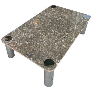 Vintage Modern Stone and Chrome Coffee Table by Pace Collection For Sale