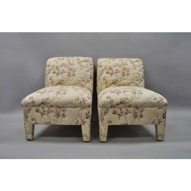 Vintage Upholstered Chinoiserie Slipper Lounge Chairs- A Pair For Sale - Image 11 of 11