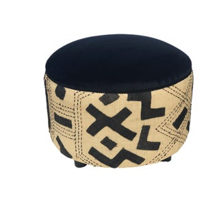 "Stunning Custom Made Kuba Cloth Ottoman 17"" H by 22"" D Preview"