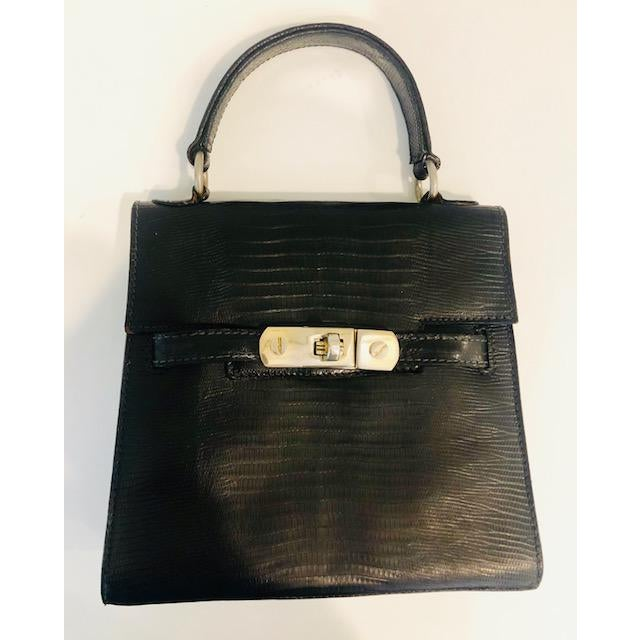 1980s Petite Lizard Skin Kelly Style Purse For Sale - Image 12 of 12