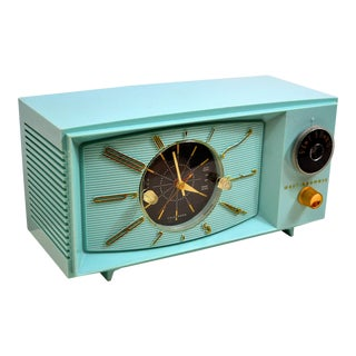 1959 Vintage Westinghouse Light Blue Turquoise Tube Am Clock Radio For Sale