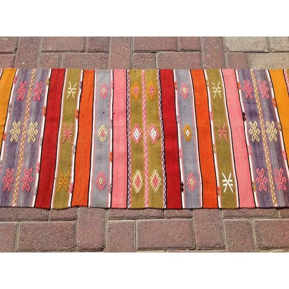 "Vintage Turkish Kilim Runner - 1'10"" X 7'6"" - Image 4 of 6"